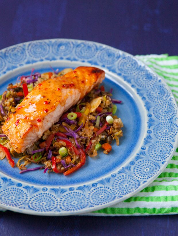 Thai Chili Glazed Salmon with Rainbow Veggie Fried Rice