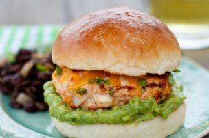 Jalapeño Cheddar Chicken Burgers with Guacamole