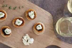 Mushroom Tartlets with Garlic Herb Cheese