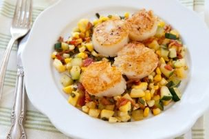 Seared Scallops with Summer Veggie and Bacon Hash