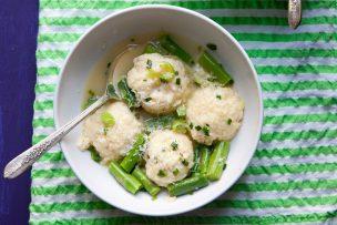 Ricotta Dumplings with Green Garlic and Asparagus