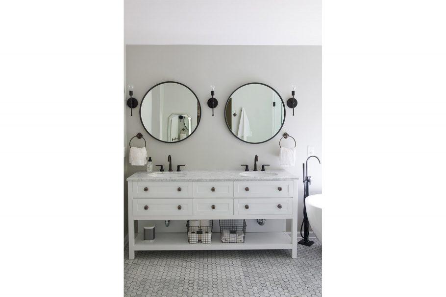 Mirrors + Sconces Break Up Monotony