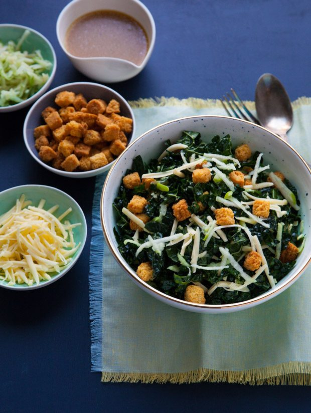 Kale Salad with Cider Vinaigrette and Cornbread Croutons