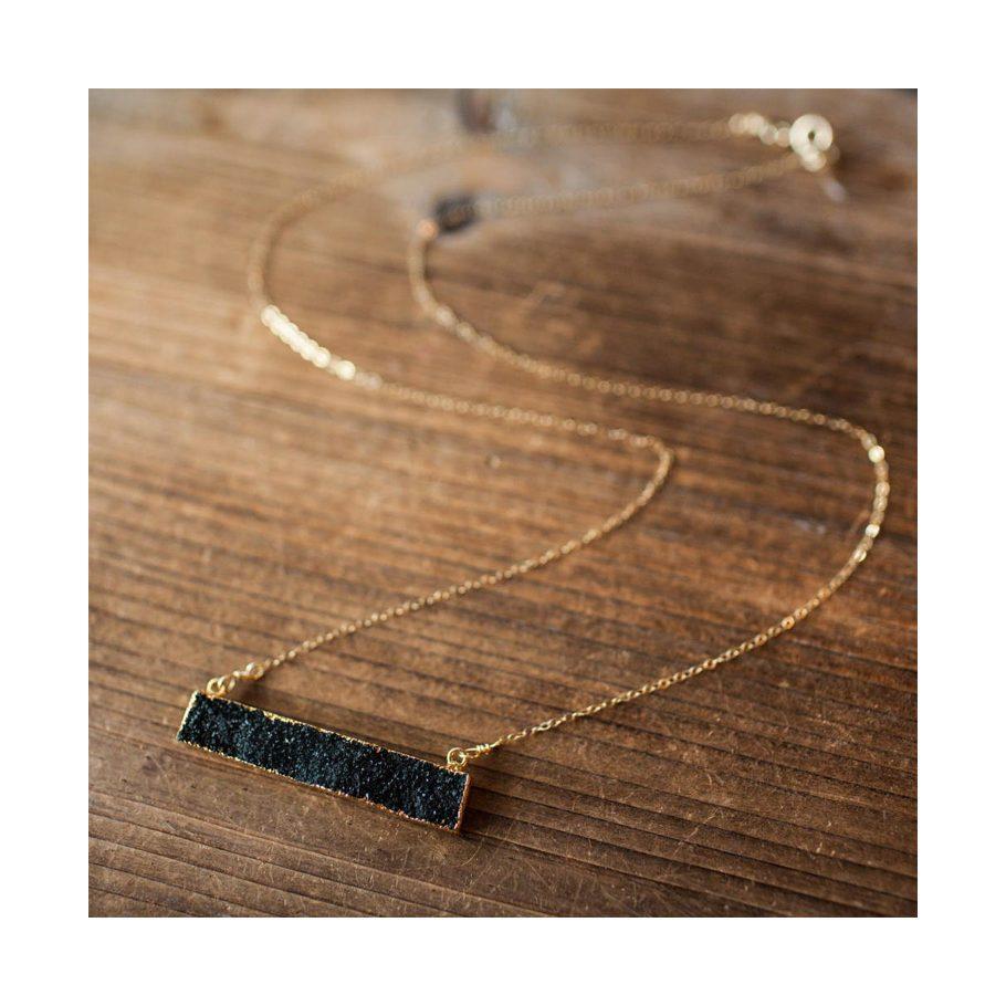 Horizontal Bar Druzy Necklace