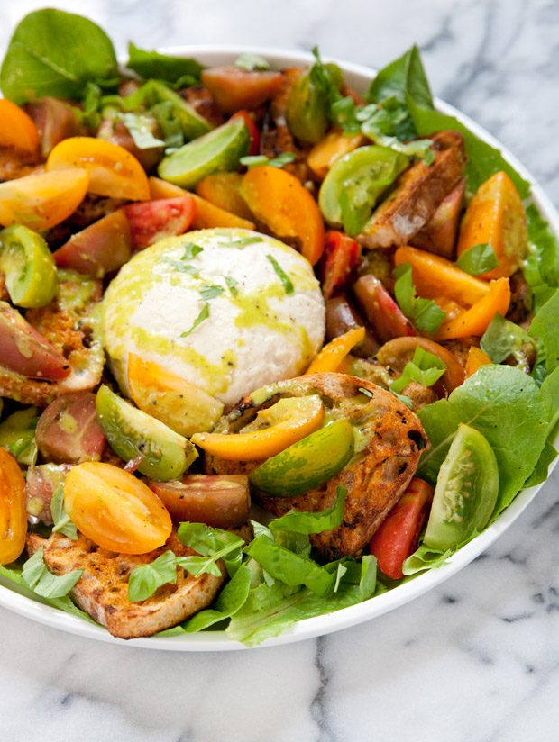 Farmer's Market Salad with Heirloom Tomatoes, Grilled Crostini and Burrata