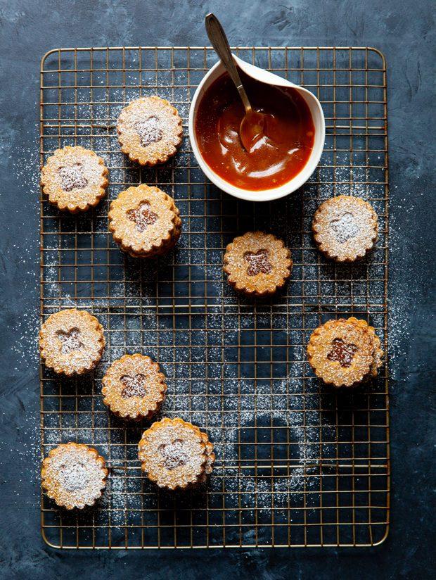 Pretzel Linzer Cookies with Salted Caramel