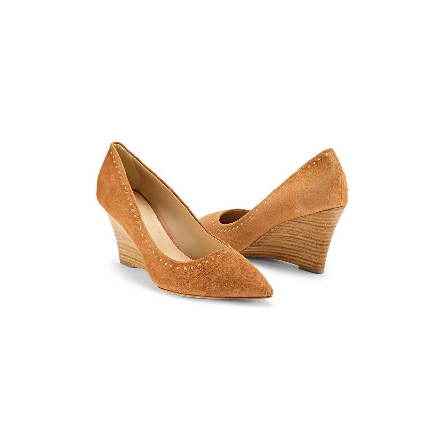 Embellished Suede Wedge Heels