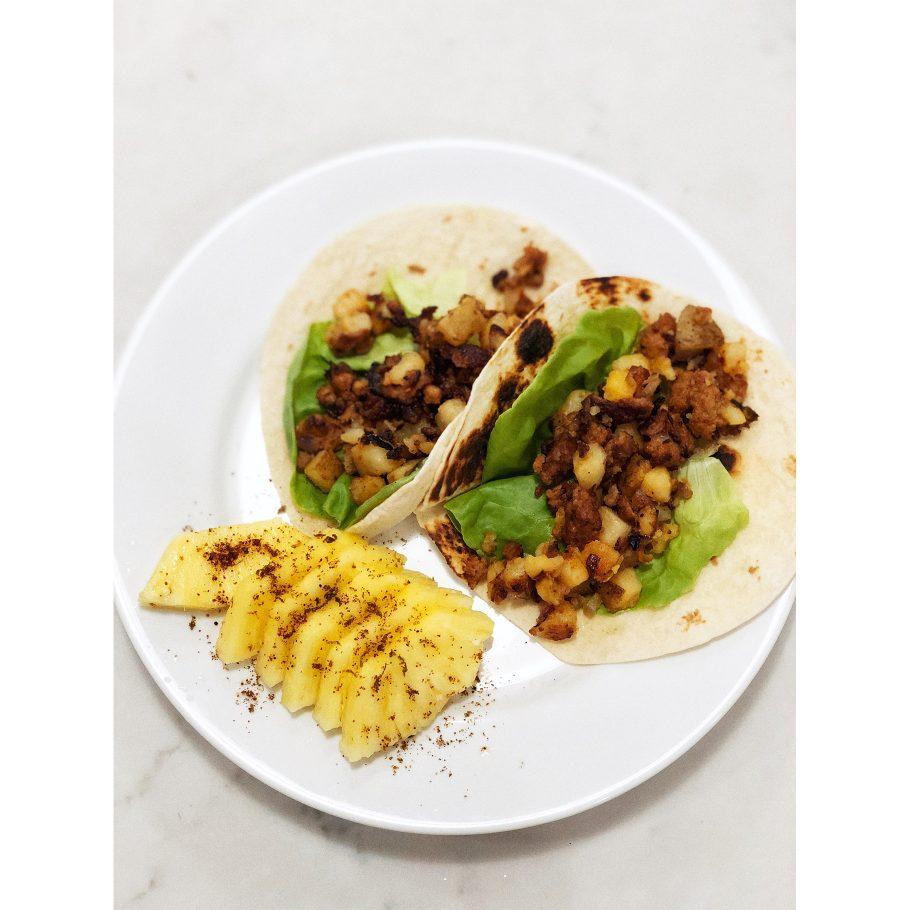 Chorizo + Potato Tacos and Pineapple with Homemade Tajin