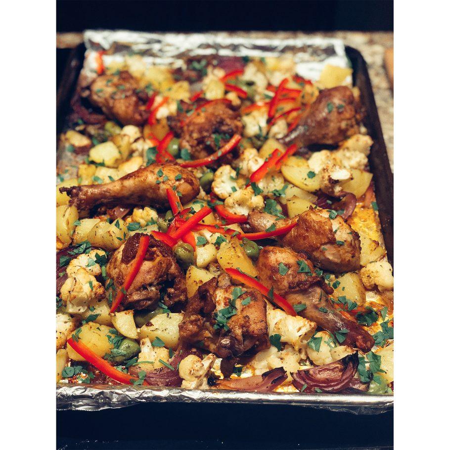 Smoky Sheet Pan Chicken with Cauliflower