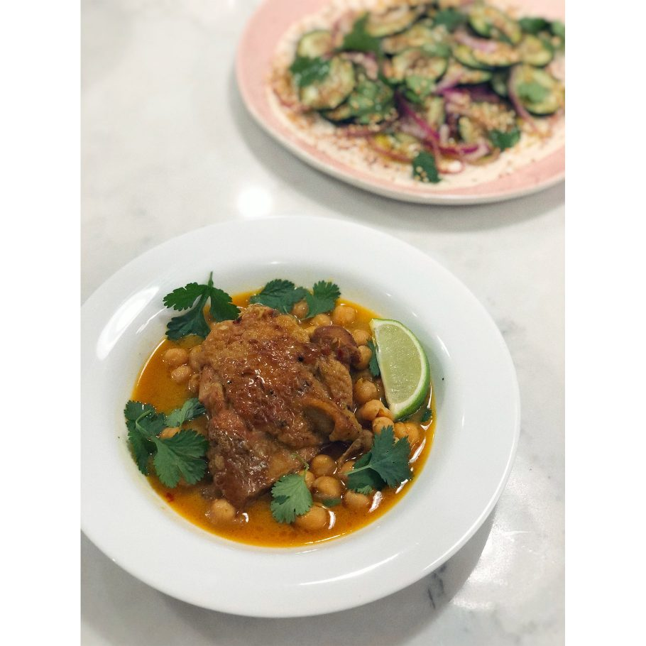 Coconut-Braised Chicken with Chickpeas and Lime