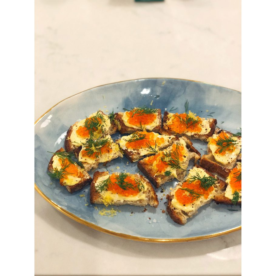 Trout Roe on Buttered Toast with Lemony Herbs