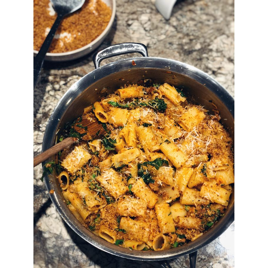Pot of Pasta with Broccoli Rabe and Chorizo Bread Crumbs