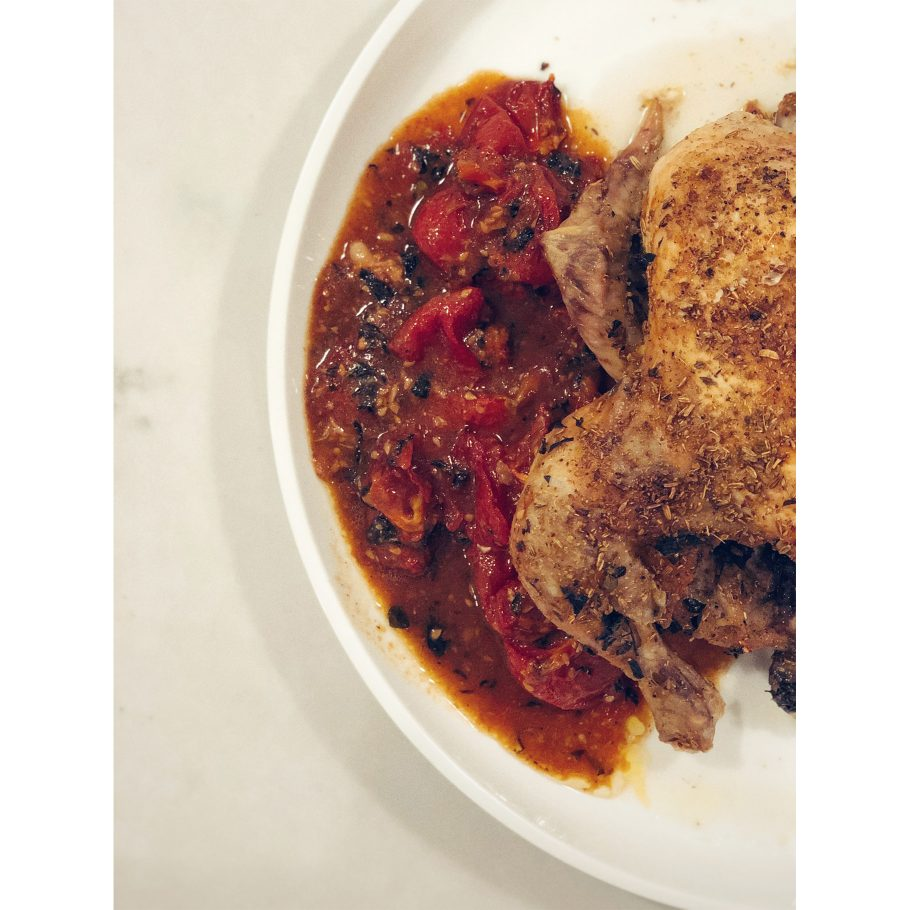 Slow Roasted Oregano Chicken with Buttered Tomatoes